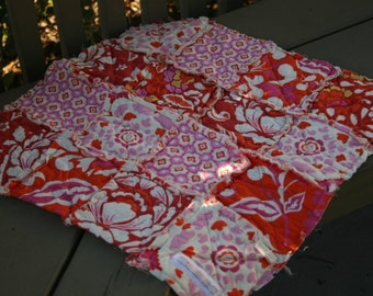 Rag Quilt Lovey, Ready to Ship, pink, orange, yellow and red, Dena Designs Taza Collection, Security Blanket, Handmade, Cotton
