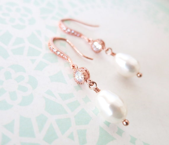 Rose Gold Cubic Zirconia Earring with Swarovski Teardrop Pearl - gifts for her, Bridesmaid pearl earrings, bridal gifts, pink gold weddings