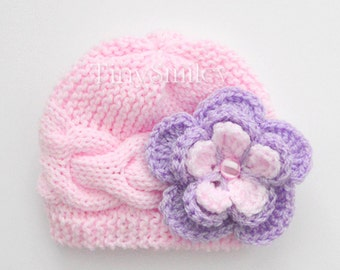 Knit Baby Hat, Cable Baby Girl Hat, Pink Cable Baby Hat, Newborn Baby Girl Hat, Baby Outfit, Hospital Hat, Baby Girl, Newborn Hats, Baby Hat