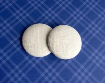 White Linen Button Earring