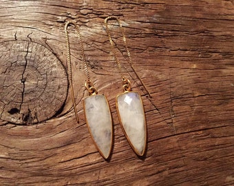 Moonstone Dagger Earrings gold filled or sterling