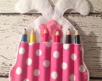 Easter Bunny Crayon pocket, Easter Basket filler
