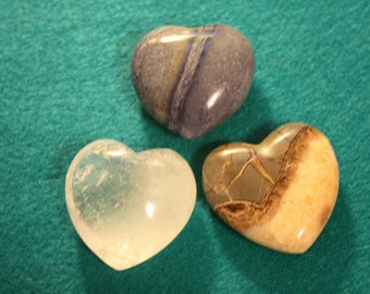 Natural Gemstone Heart Tokens-Utah Honey Quartz