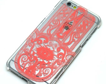 Hamsa Pink Henna Clear Case iPhone 6, 7, SE, 6 Plus, 7 Plus, 6S, 5, 5C, 5S, Galaxy S6, S7, Note 5, Note 7