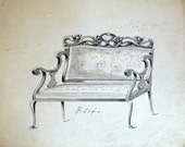Antique Watercolor Painting of a Settee - Antique Drawing