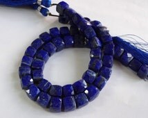 Natural Lapis Lazuli faceted box six side cutting briolette size 7-8mm sold per 8-inch strand 100% natural