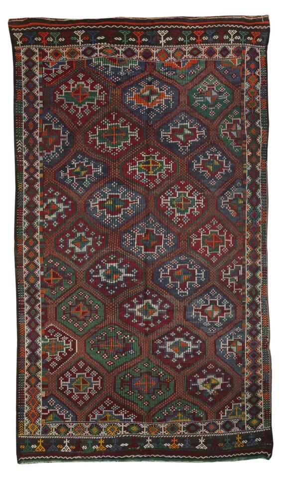 Diamond Rug Turkish Kilim Rug Multi Color by TheOrientBazaar