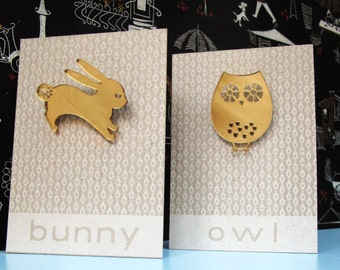 Limited edition owl, fox and bunny mirrored perspex brooch