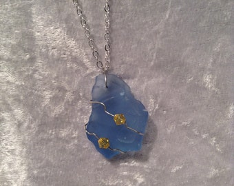 Seaglass and Swarovski Crystals, Yellow and Pale Blue Necklace