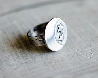 massive silver ring, circle, moon, Star, constellation, nature, symbol, patinated black