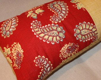 sam + finn ~ Upcycled Designer Pillow in Red Yellow Gold and Blue Fabric