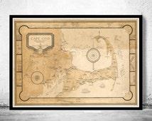 Beautiful Vintage Cape Cod Map  Massachusetts