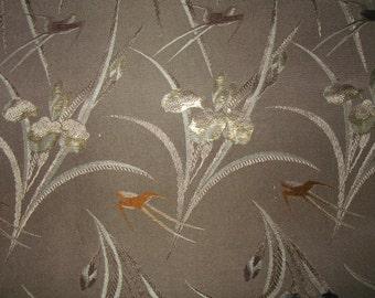 SWALLOWS IRIS OBI, Gray Vintage Japanese Silk Obi,Trad Obi Kimono Belt, Table Runner,Bed Runner, Home Decor - Bronze Gray Swallow Silk Obi