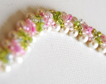 Pearl, Green, and Pink Criss-Cross Bracelet