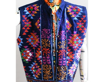 Beautiful Embroidered Vest from Nepal w/ Geometric Vivid Neon Shapes