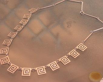 French vintage Art deco square pendant sterling silver engraved  bracelet  stamped necklace signed