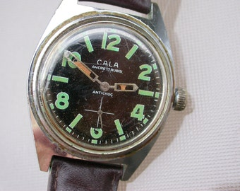 French vintage CALA  Wrist watch Good working condition leather bracelet man watch steel back antimaguetic waterproof