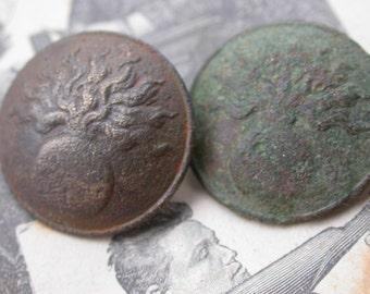 2pcs regiment numbered antique button Napoleon war 1812  French antique metal button military suit button army button France Paris