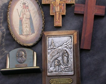 4pcs antique  reliquary crucifix cross silver metal our lady Lourdes  Gothic antique religious saint bronze frame wooden cross