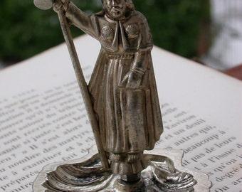 French  antique religious statue Silver sculpture reliquary Saint Jaques De Compostelle st tiago cane red enamel shell cross crucifix