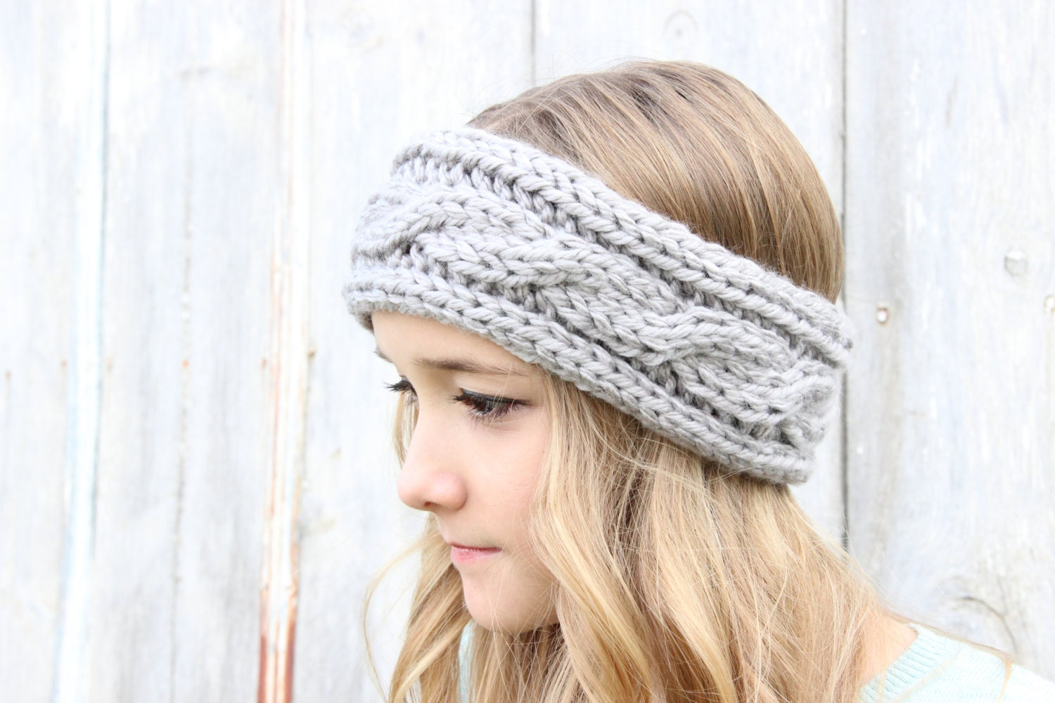Headband Cable Knit Knitted Headband Winter by SerbyStitches