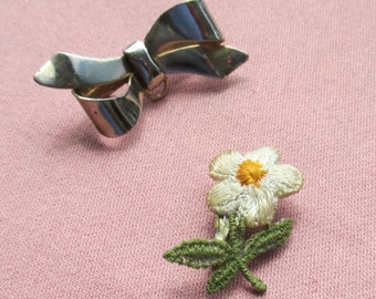 Vintage Daisy Applique Pin Plus Metal Bow Pin