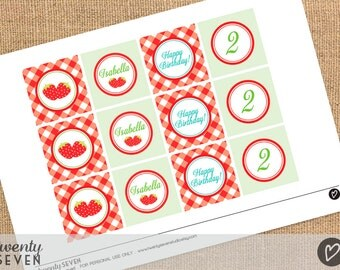 Strawberry Party. Printable Cupcake Toppers