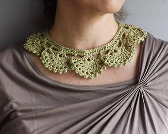 Woman's Peter Pan Crochet Collar. Romantic Crochet Jewelry Collar. Cotton Lace, Crochet Collar.
