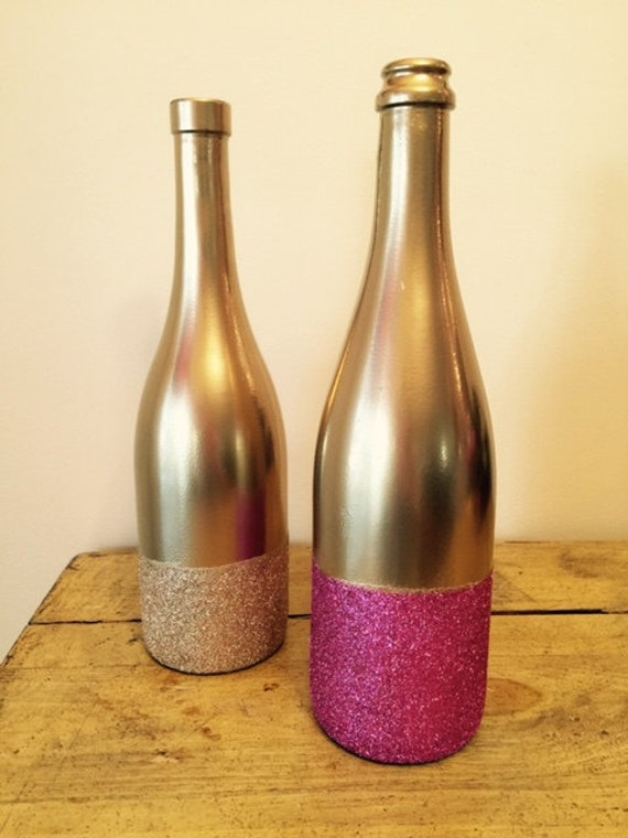 Decorating Wine Bottles With Glitter Fascinating Wedding  Reception Centerpiece  Decor  Glitter Dipped Wine Inspiration