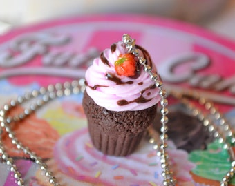 Chocolate cupcake necklace,Chocolate cupcake pendant,Miniature food necklace,Polymer clay necklace