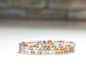 SET of 3 layering bracelets / skinny stacking bracelets / christmas gift for her stretch bracelet jewelry #477