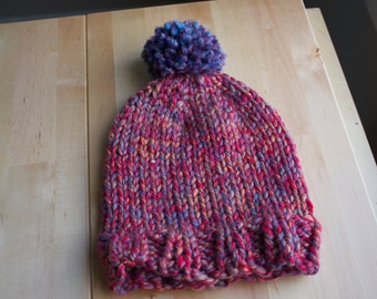 Multi Color Chunky Hand Knit Hat with Pom-Pom
