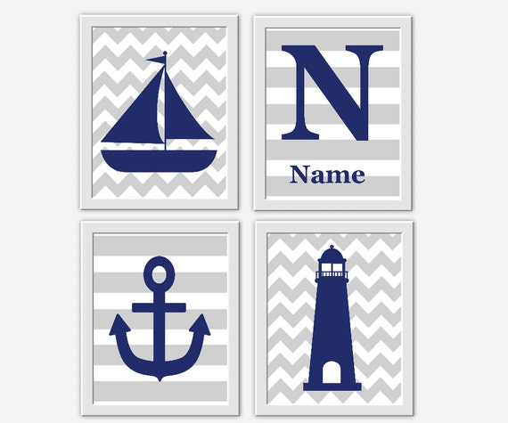 nautical baby nursery wall art navy blue gray sailboat anchor lighthouse personalize art boy. Black Bedroom Furniture Sets. Home Design Ideas