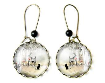 Cat earrings & Onyx beads