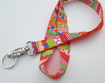 Orange Lanyard Keychains, Cool Lanyards for Keys, Id Badge Holder Necklace Lanyards, Cute Lanyards for Badges