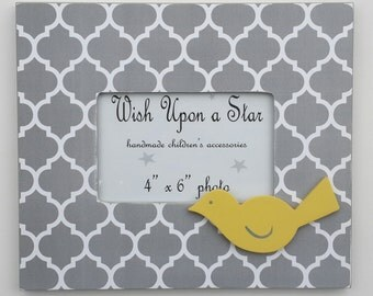 Modern Moroccan Gray Frame with Yellow Bird, More Colors Available!!!