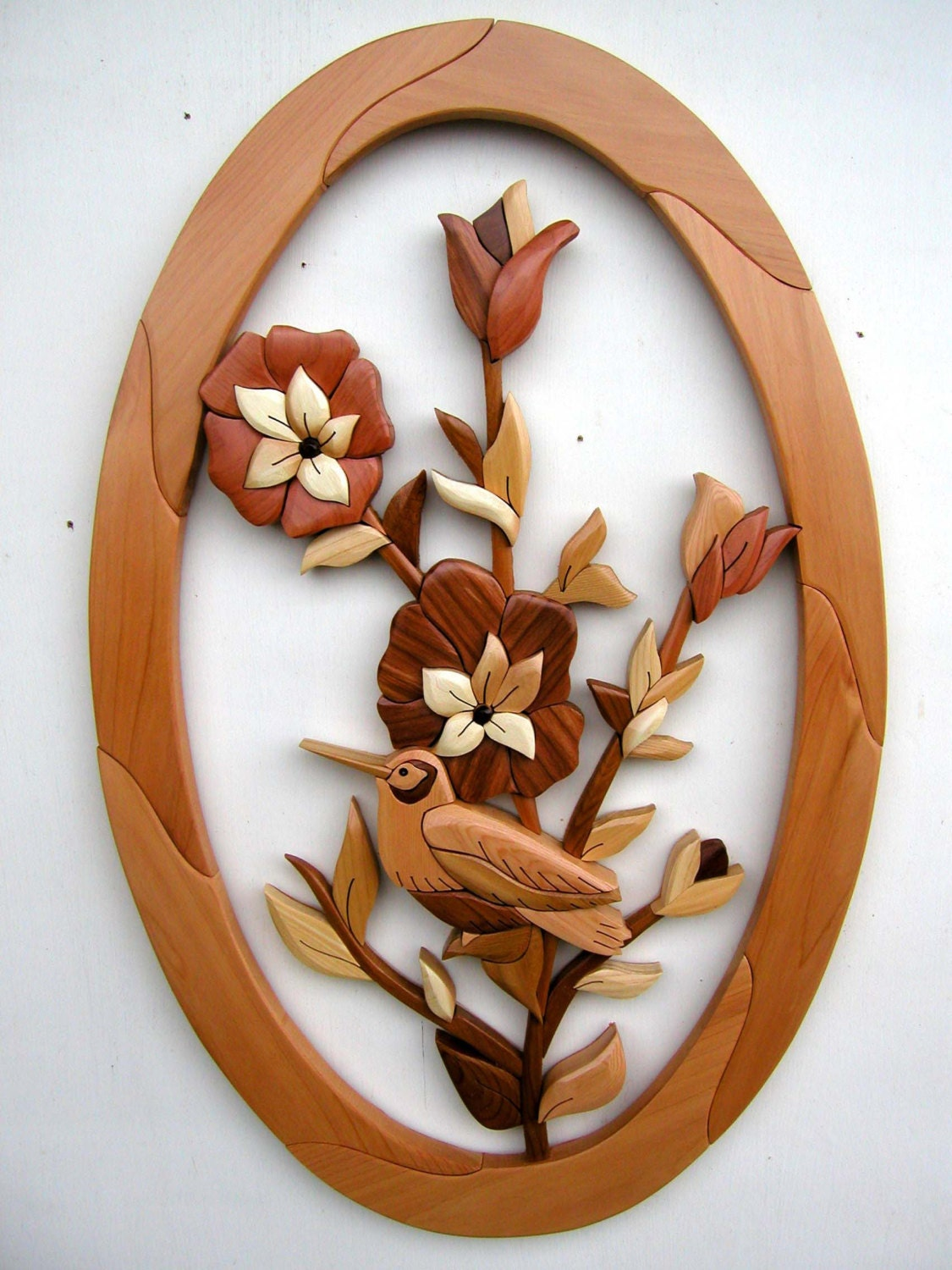Intarsia Woodworking Pattern Flowers From