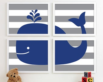 Baby Boy Nursery Art, Whale Nursery Art, Nautical Nursery Whale, Whale Art, Whale Bedroom Decor, Make a Splash, Gray Navy Blue Nursery Decor