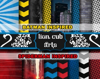 Comic Book Batman Spiderman Inspired Heroes Paper Pack -- 15 High Res JPEG 12x12 Papers 300 DPI -- Red Yellow Black Blue White