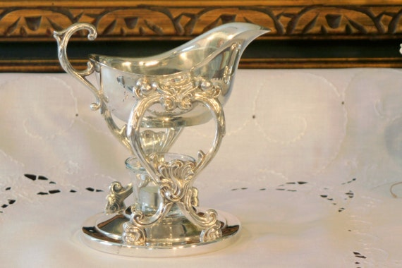 Gravy Boat Warmer ~ Silver plate tipping gravy boat chafing sauce by pearlsparlor