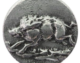 """RJ621 - Hand Cast Pewter Button - 1"""" Raging Wild Boar Pewter Buttons (Card of 4)"""