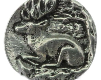 "RJ623 - Hand Cast Pewter Button - 7/8"" Graceful Resting Stag Pewter Buttons (Card of 4)"