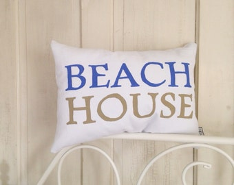 BEACH HOUSE Pillow || canvas || 16 colors - beach cottage decor, beach pillow, coastal decor
