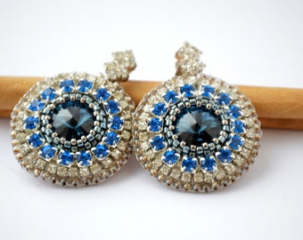 Bead Embroidery Earrings with Swarovski Crystals