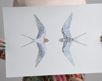 Bird Print - Swallow Wall Art - Birds- Watercolour Artwork- Swallow Bird - Bird Illustration- Swallow Bird Gift - Mothers Day Gift