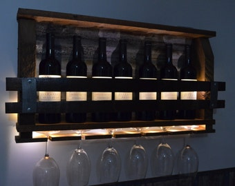 Wine Rack - Lighted - Reclaimed barnwood & Wine Staves grill - with rusted  barn roof tin