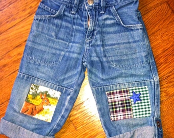 Toddler Funky Patched Blue Jeans; 100% Cotton, size 2T