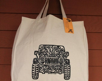 JEEP Tribal Tattoo Design Large Over Shoulder Grocery Tote Bag -  Screen Printed Original Design
