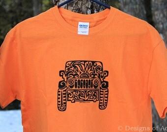 JEEP Tribal Tattoo T-Shirt  - Orange