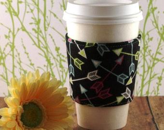 Fabric Coffee Cozy / Arrows Coffee Cozy / Coffee Cozy / Tea Cozy